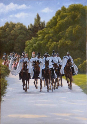 oil horse painting with austrian dragoons