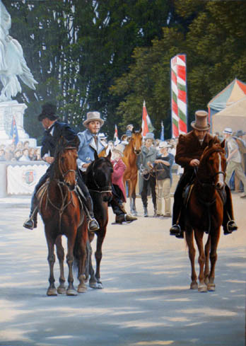oil horse painting, horse-feast in budapest