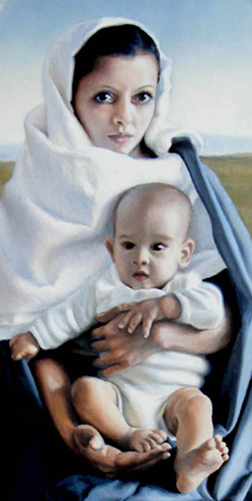 fine art oil portrait painting, mother and child as madonna