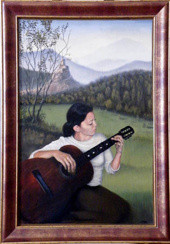 fine art oil portrait painting in landscape, girl with guitar