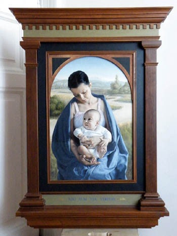 fine art oil portrait painting, mother and child, madonna in renaissance frame