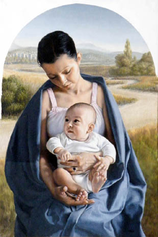 fine art oil portrait painting, mother and child, madonna by marton doka