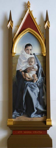 fine art oil portrait painting, mother and child, madonna in gothic frame