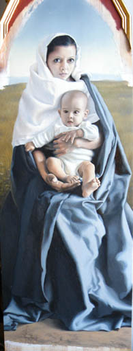 fine art oil portrait painting, mother and child, gothic madonna