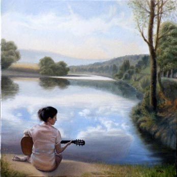 oil painting landscape with a girl playing the guitar