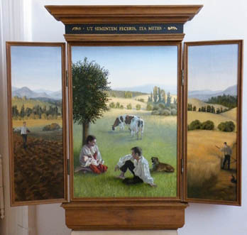 oil painting landscape with a farmer family