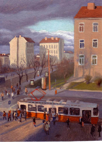 oil painting cityscape of budapest
