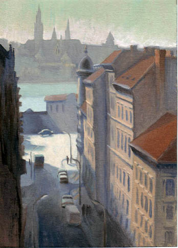 oil painting cityscape of budapest downtown