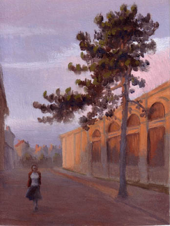 oil painting cityscape of budapest, street with pine tree