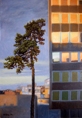 oil painting cityscape of budapest, pine tree and glass court house