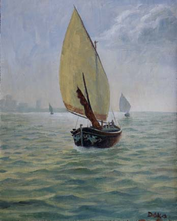 seascape with sailboats, oil painting