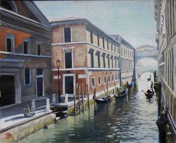 oil painting cityscape of venice with the bridge of sighs
