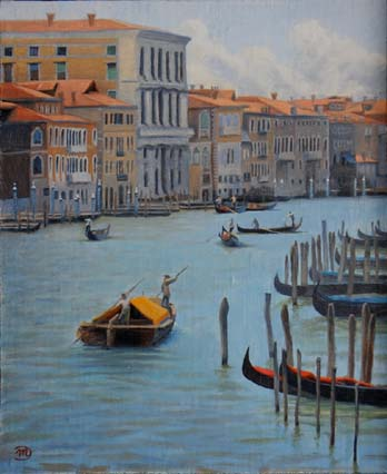 oil painting cityscape of venice with the grand canal