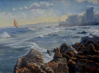 oil painting landscape with seashore